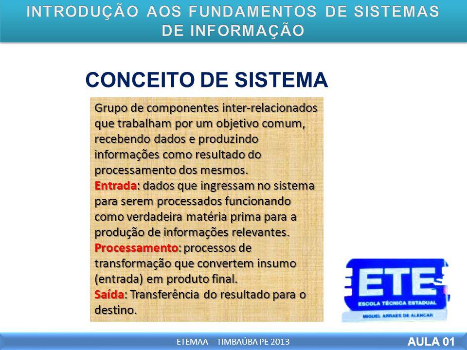 AULA 01 ETEMAA – TIMBAÚBA PE 2013 CONCEITO DE SISTEMA Grupo de componentes inter-relacionados que trabalham por um objetivo comum, recebendo dados e produzindo informações como resultado do processamento dos mesmos.