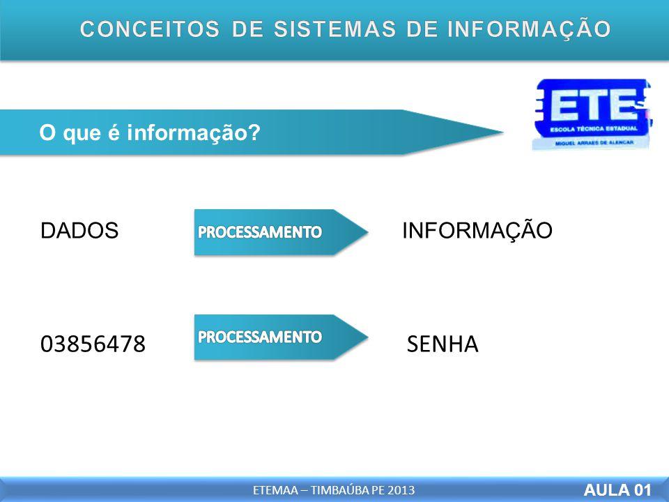 DADOS INFORMAÇÃO 03856478 SENHA AULA 01 ETEMAA – TIMBAÚBA PE 2013 O que é informação? AULA 01