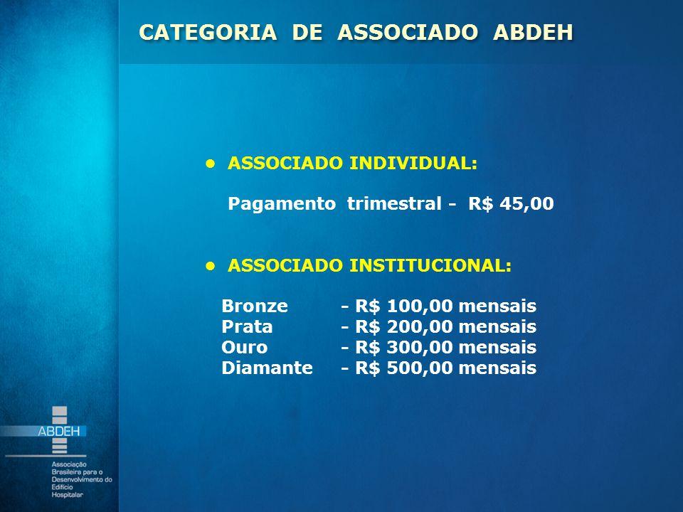 ASSOCIADO INDIVIDUAL: Pagamento trimestral - R$ 45,00 ASSOCIADO INSTITUCIONAL: Bronze- R$ 100,00 mensais Prata - R$ 200,00 mensais Ouro - R$ 300,00 me
