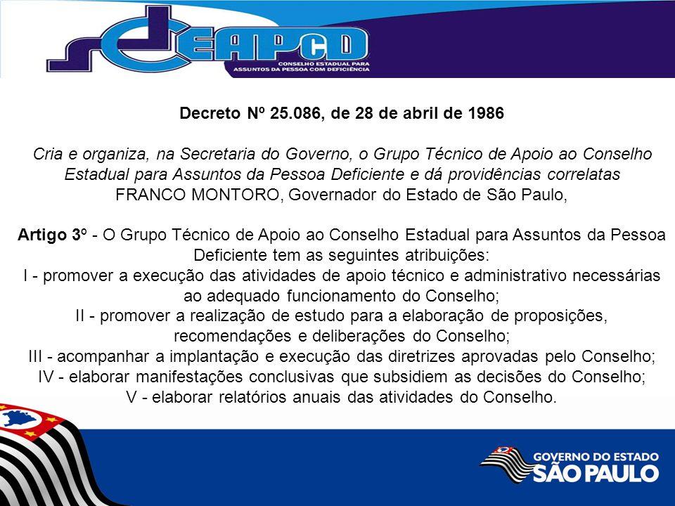 Decreto Nº 25.086, de 28 de abril de 1986 Cria e organiza, na Secretaria do Governo, o Grupo Técnico de Apoio ao Conselho Estadual para Assuntos da Pe
