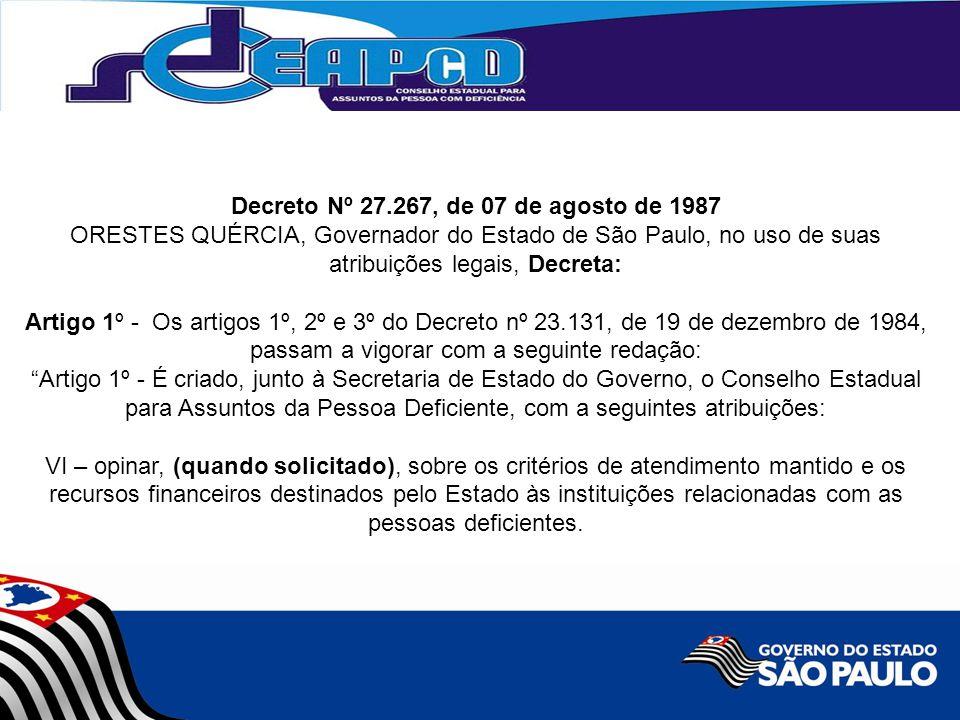 Decreto Nº 27.267, de 07 de agosto de 1987 ORESTES QUÉRCIA, Governador do Estado de São Paulo, no uso de suas atribuições legais, Decreta: Artigo 1º - Os artigos 1º, 2º e 3º do Decreto nº 23.131, de 19 de dezembro de 1984, passam a vigorar com a seguinte redação: Artigo 1º - É criado, junto à Secretaria de Estado do Governo, o Conselho Estadual para Assuntos da Pessoa Deficiente, com a seguintes atribuições: VI – opinar, (quando solicitado), sobre os critérios de atendimento mantido e os recursos financeiros destinados pelo Estado às instituições relacionadas com as pessoas deficientes.