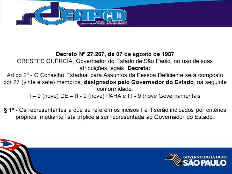 Decreto Nº 27.267, de 07 de agosto de 1987 ORESTES QUÉRCIA, Governador do Estado de São Paulo, no uso de suas atribuições legais, Decreta: Artigo 2º - O Conselho Estadual para Assuntos da Pessoa Deficiente será composto por 27 (vinte e sete) membros, designados pelo Governador do Estado, na seguinte conformidade: I – 9 (nove) DE – II - 9 (nove) PARA e III - 9 (nove Governamentais § 1º - Os representantes a que se referem os incisos I e II serão indicados por critérios próprios, mediante lista tríplice a ser representada ao Governador do Estado.