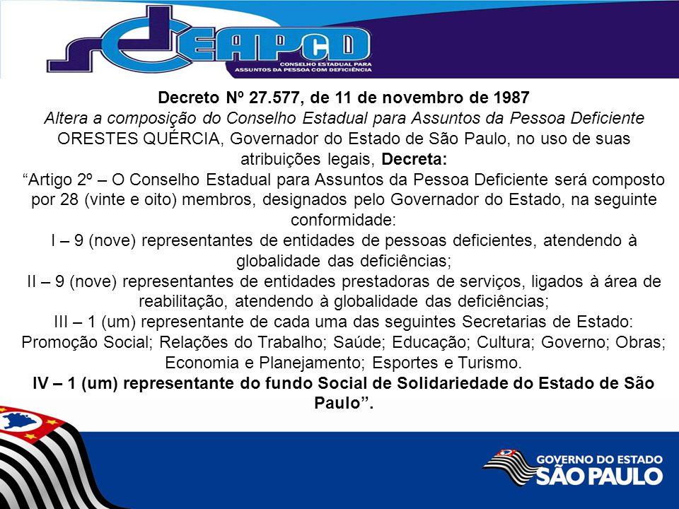 Decreto Nº 27.577, de 11 de novembro de 1987 Altera a composição do Conselho Estadual para Assuntos da Pessoa Deficiente ORESTES QUÉRCIA, Governador d