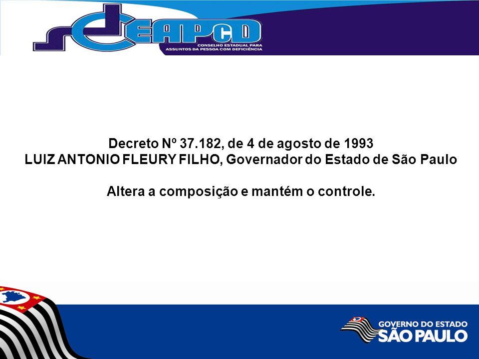 Decreto Nº 37.182, de 4 de agosto de 1993 LUIZ ANTONIO FLEURY FILHO, Governador do Estado de São Paulo Altera a composição e mantém o controle.