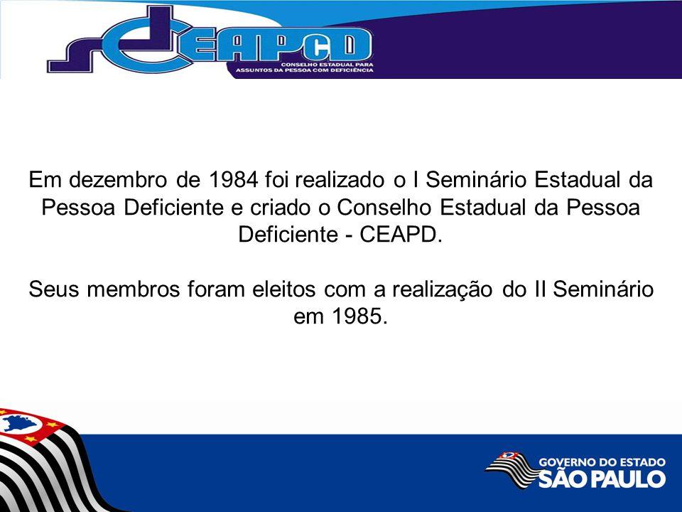 Em dezembro de 1984 foi realizado o I Seminário Estadual da Pessoa Deficiente e criado o Conselho Estadual da Pessoa Deficiente - CEAPD. Seus membros