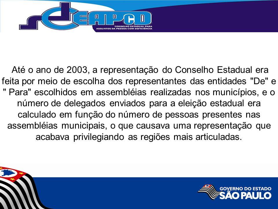 Até o ano de 2003, a representação do Conselho Estadual era feita por meio de escolha dos representantes das entidades