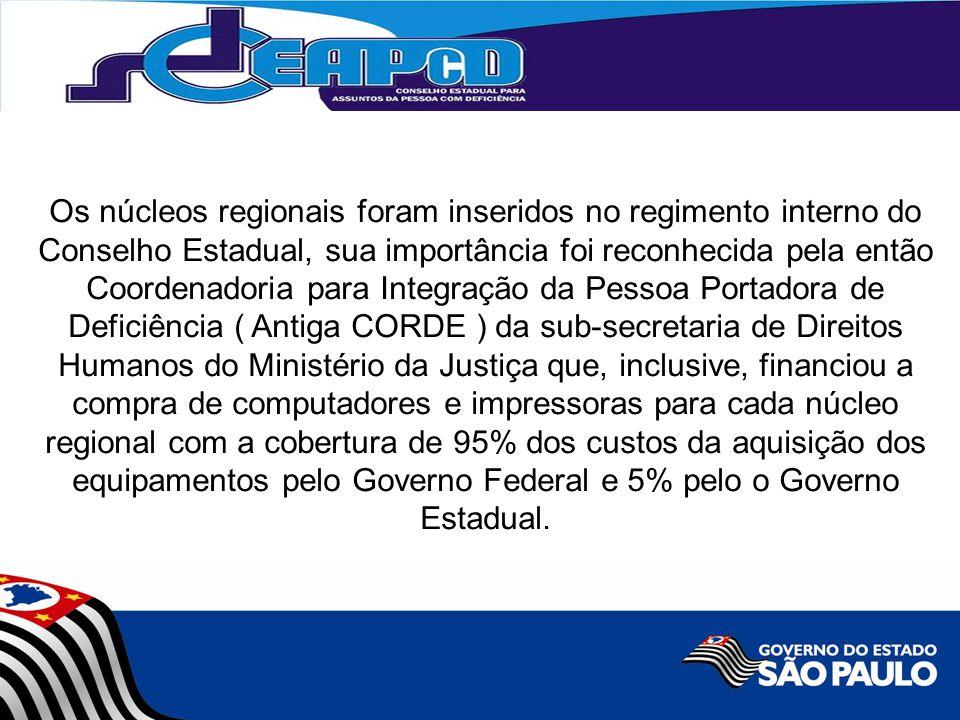 Os núcleos regionais foram inseridos no regimento interno do Conselho Estadual, sua importância foi reconhecida pela então Coordenadoria para Integraç