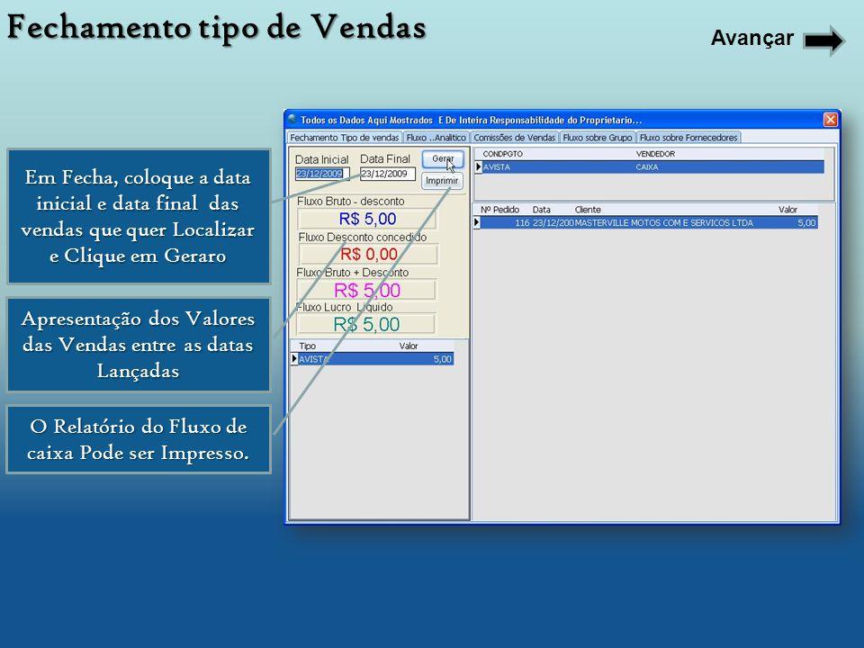 Em Fecha, coloque a data inicial e data final das vendas que quer Localizar e Clique em Gerar0 Apresentação dos Valores das Vendas entre as datas Lanç