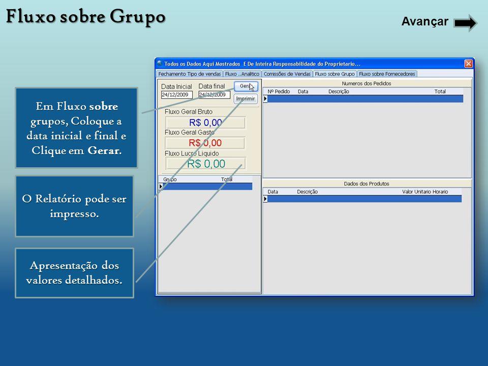 Em Fluxo sobre grupos, Coloque a data inicial e final e Clique em Gerar. O Relatório pode ser impresso. Apresentação dos valores detalhados. Fluxo sob