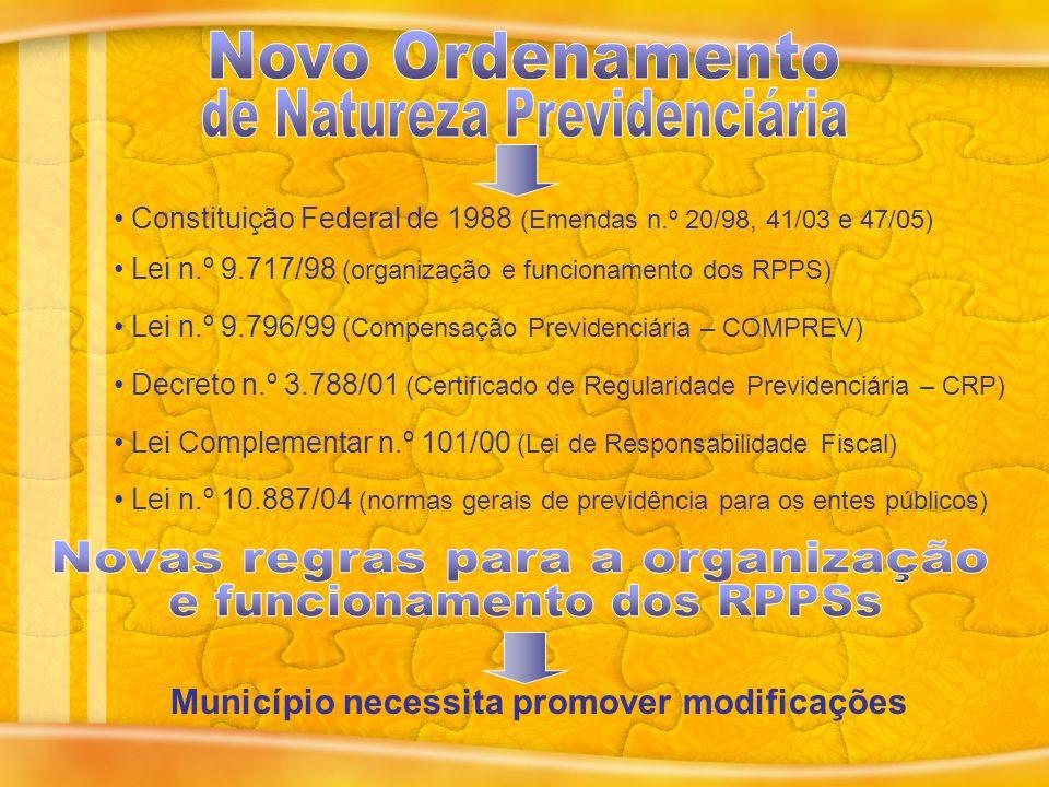 Lei n.º 10.887/04 (normas gerais de previdência para os entes públicos) Constituição Federal de 1988 (Emendas n.º 20/98, 41/03 e 47/05) Lei n.º 9.717/98 (organização e funcionamento dos RPPS) Lei n.º 9.796/99 (Compensação Previdenciária – COMPREV) Decreto n.º 3.788/01 (Certificado de Regularidade Previdenciária – CRP) Lei Complementar n.º 101/00 (Lei de Responsabilidade Fiscal) Município necessita promover modificações