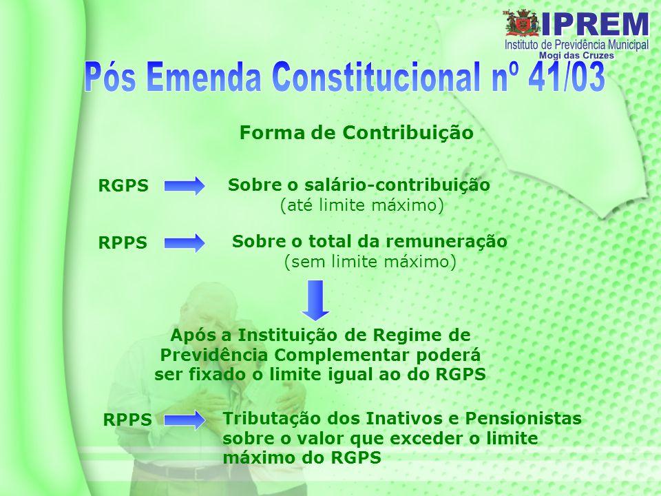 Forma de Contribuição RGPS Sobre o salário-contribuição (até limite máximo) RPPS Sobre o total da remuneração (sem limite máximo) Após a Instituição de Regime de Previdência Complementar poderá ser fixado o limite igual ao do RGPS RPPS Tributação dos Inativos e Pensionistas sobre o valor que exceder o limite máximo do RGPS