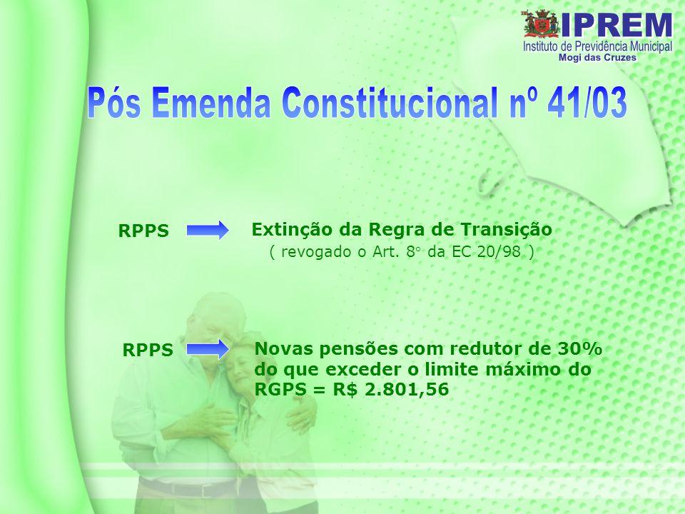 RPPS Novas pensões com redutor de 30% do que exceder o limite máximo do RGPS = R$ 2.801,56 RPPS Extinção da Regra de Transição ( revogado o Art.
