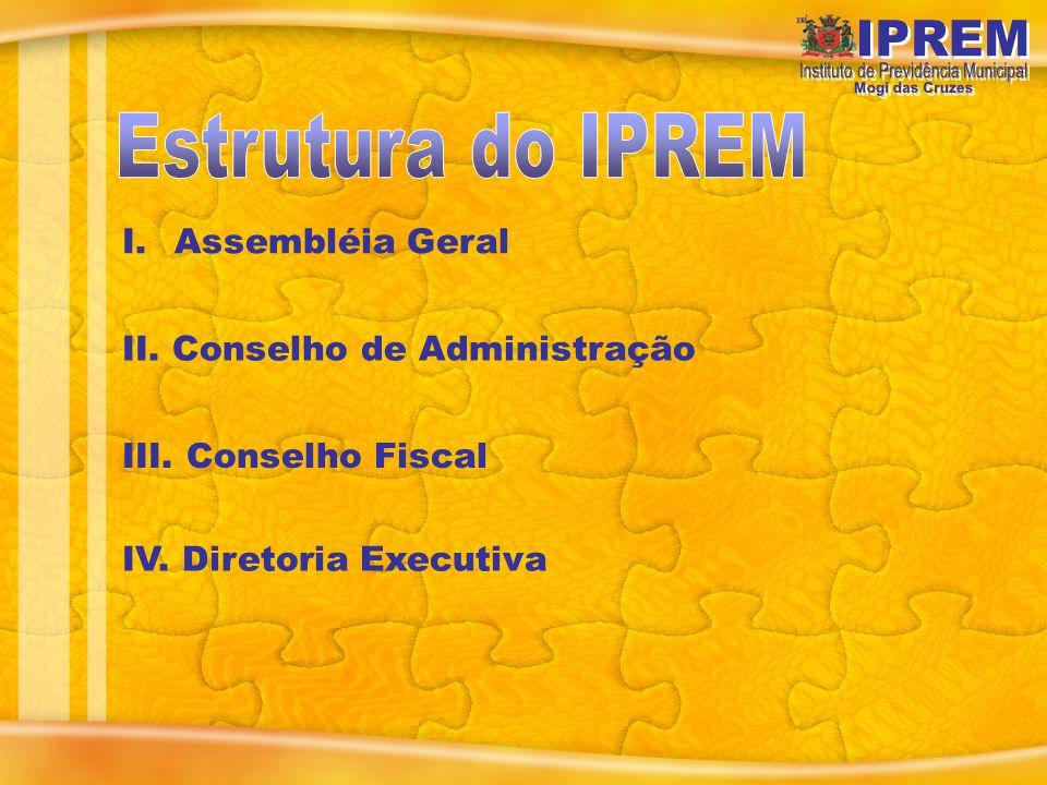I.Assembléia Geral II. Conselho de Administração III. Conselho Fiscal IV. Diretoria Executiva