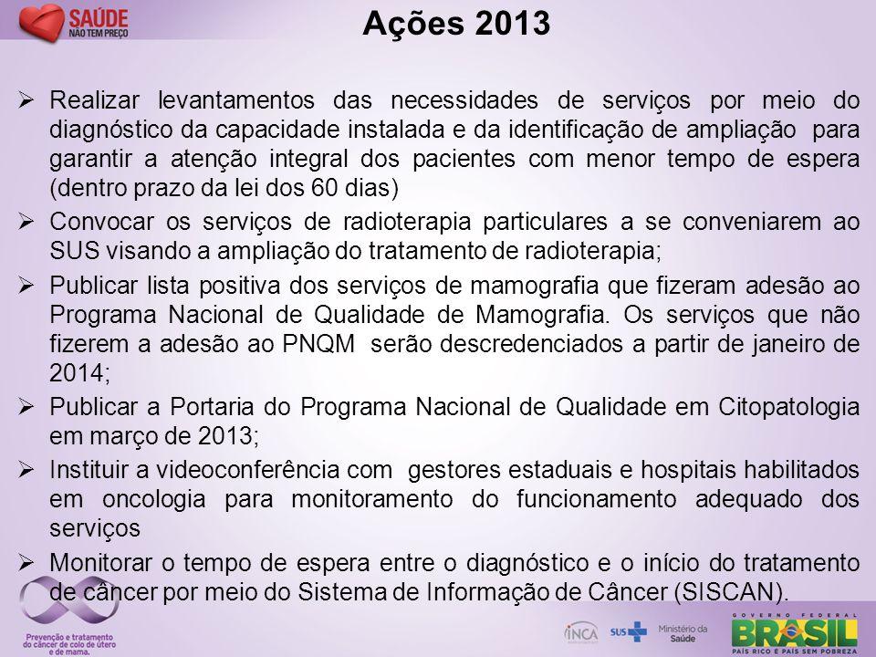 Ações 2013  Realizar levantamentos das necessidades de serviços por meio do diagnóstico da capacidade instalada e da identificação de ampliação para