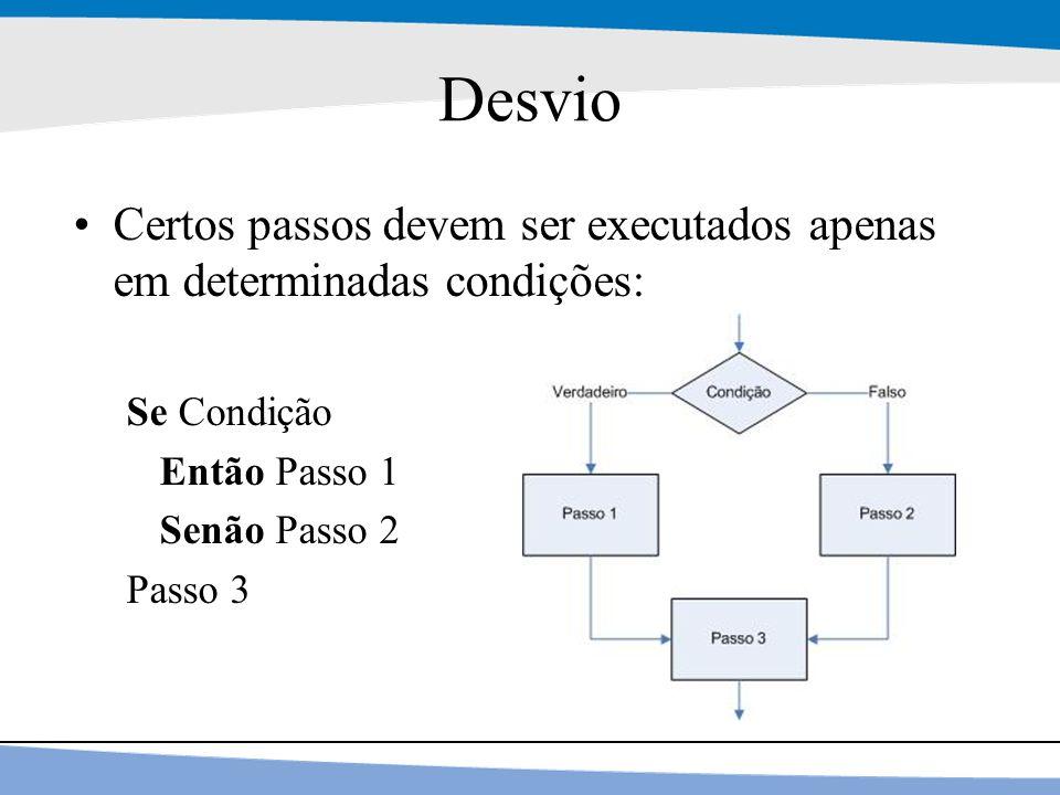 14 Desvio Certos passos devem ser executados apenas em determinadas condições: Se Condição Então Passo 1 Senão Passo 2 Passo 3