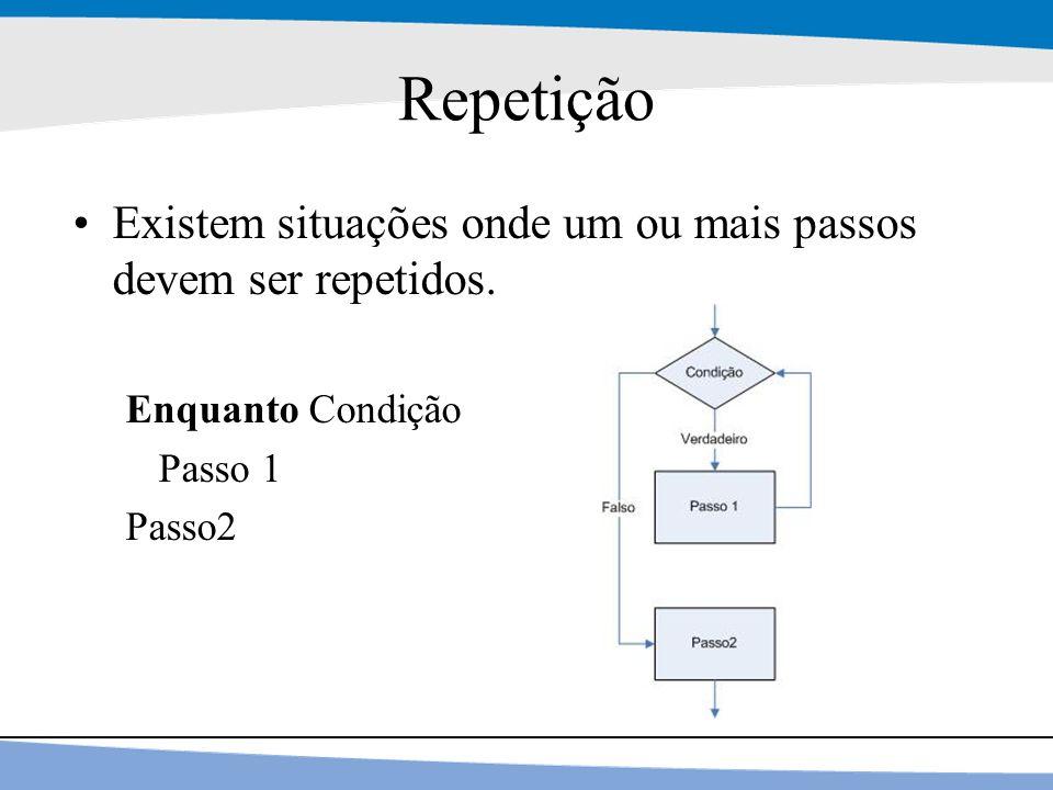 15 Repetição Existem situações onde um ou mais passos devem ser repetidos. Enquanto Condição Passo 1 Passo2