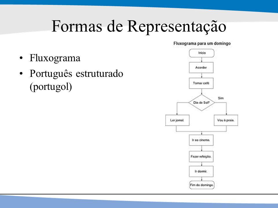 17 Formas de Representação Fluxograma Português estruturado (portugol)