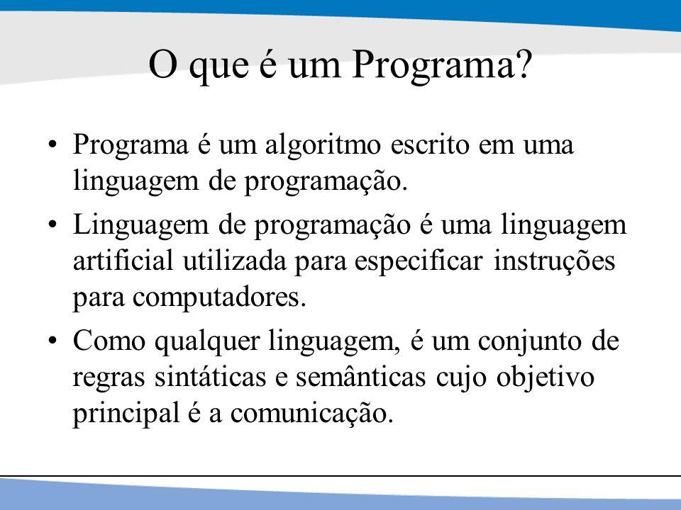 27 O que é um Programa? Programa é um algoritmo escrito em uma linguagem de programação. Linguagem de programação é uma linguagem artificial utilizada