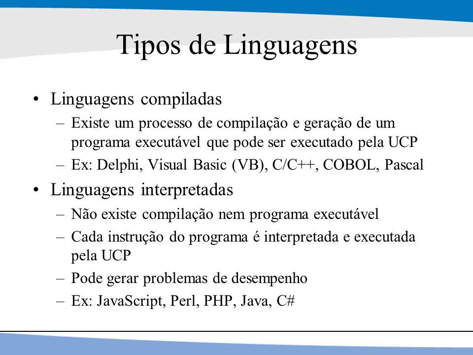 30 Tipos de Linguagens Linguagens compiladas –Existe um processo de compilação e geração de um programa executável que pode ser executado pela UCP –Ex