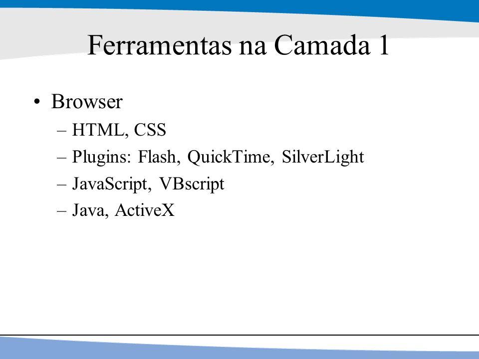 7 Ferramentas na Camada 1 Browser –HTML, CSS –Plugins: Flash, QuickTime, SilverLight –JavaScript, VBscript –Java, ActiveX