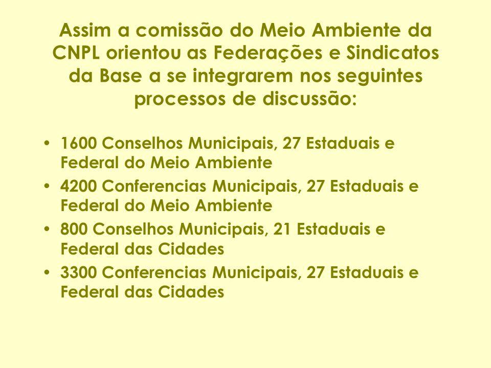 Assim a comissão do Meio Ambiente da CNPL orientou as Federações e Sindicatos da Base a se integrarem nos seguintes processos de discussão: 1600 Conse