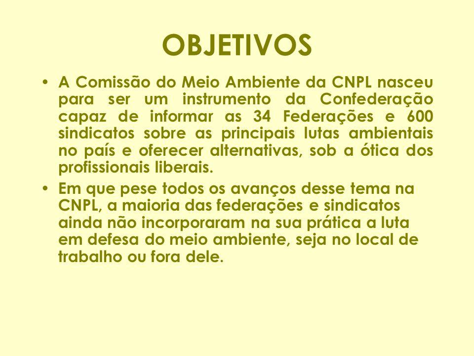 OBJETIVOS A Comissão do Meio Ambiente da CNPL nasceu para ser um instrumento da Confederação capaz de informar as 34 Federações e 600 sindicatos sobre as principais lutas ambientais no país e oferecer alternativas, sob a ótica dos profissionais liberais.