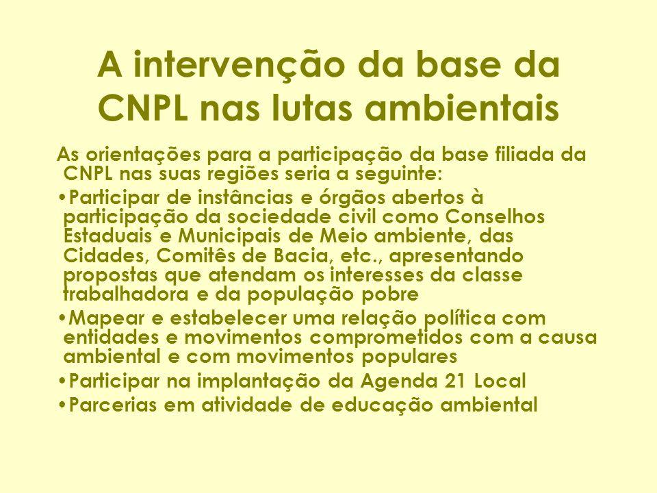 A intervenção da base da CNPL nas lutas ambientais As orientações para a participação da base filiada da CNPL nas suas regiões seria a seguinte: Parti