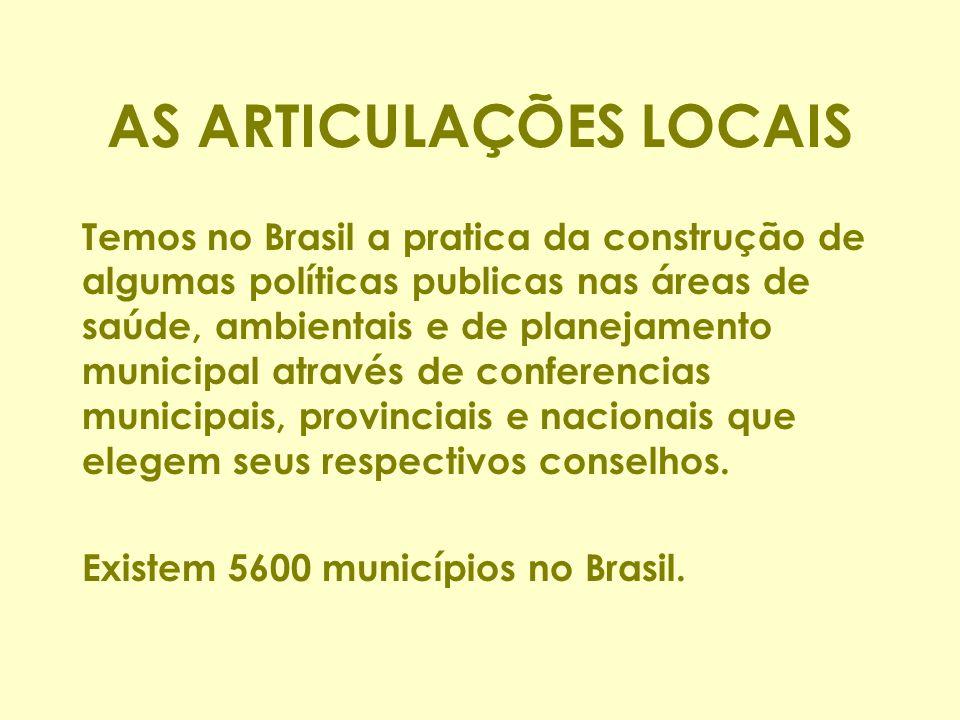 AS ARTICULAÇÕES LOCAIS Temos no Brasil a pratica da construção de algumas políticas publicas nas áreas de saúde, ambientais e de planejamento municipal através de conferencias municipais, provinciais e nacionais que elegem seus respectivos conselhos.