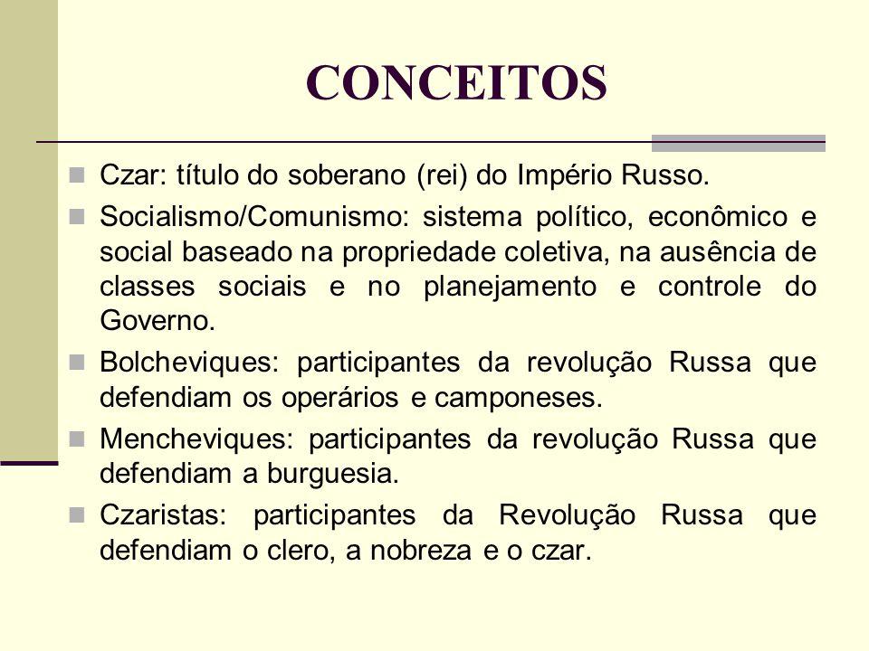 CONCEITOS Czar: título do soberano (rei) do Império Russo.