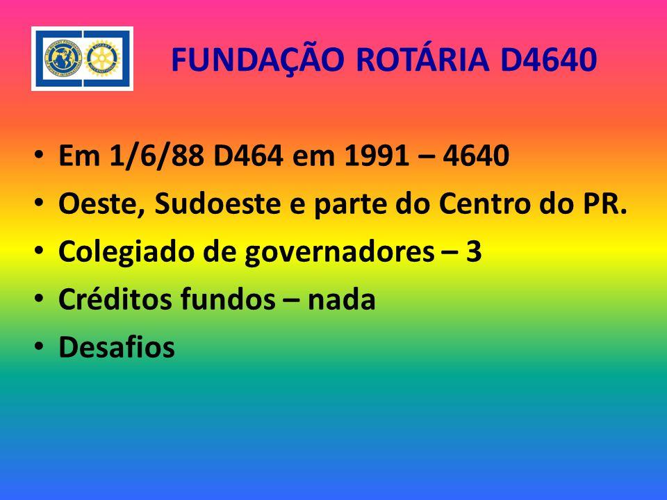 FUNDAÇÃO ROTÁRIA D4640 Em 1/6/88 D464 em 1991 – 4640 Oeste, Sudoeste e parte do Centro do PR.