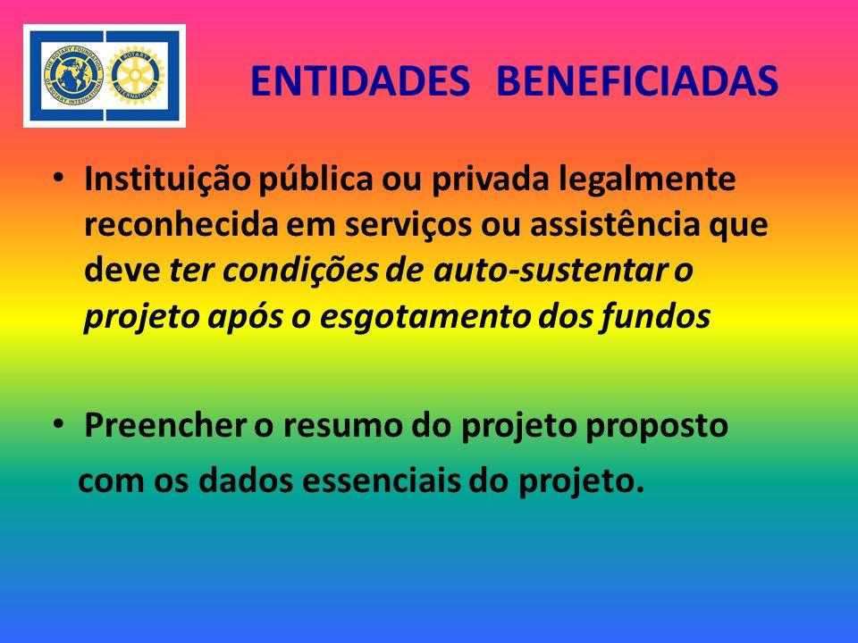 ENTIDADES BENEFICIADAS Instituição pública ou privada legalmente reconhecida em serviços ou assistência que deve ter condições de auto-sustentar o projeto após o esgotamento dos fundos Preencher o resumo do projeto proposto com os dados essenciais do projeto.