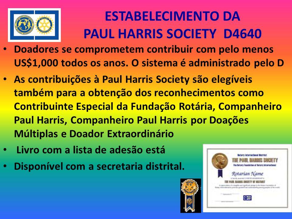 ESTABELECIMENTO DA PAUL HARRIS SOCIETY D4640 Doadores se comprometem contribuir com pelo menos US$1,000 todos os anos.
