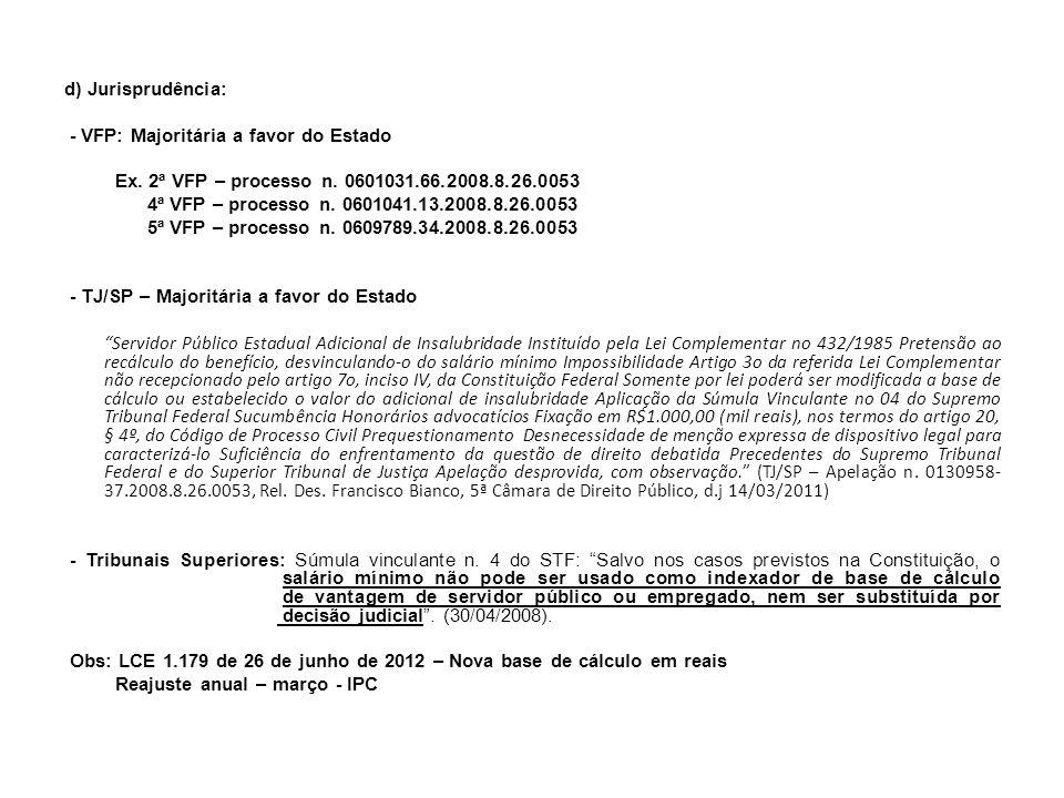 TJ/SP: 1 acórdão desfavorável – 3ª Câmara Ementa: APELAÇÃO - ADMINISTRATIVO – SERVIDORES PÚBLICOS - POLICIAIS MILITARES - ADICIONAL DE LOCAL DE EXERCÍCIO (ALE) - PRETENSÃO À INCORPORAÇÃO DO ADICIONAL DE LOCAL DE EXERCÍCIO (ALE) NOS VENCIMENTOS - CABIMENTO - LEI COMPLEMENTAR Nº 689/92 E POSTERIORES ALTERAÇÕES - VANTAGEM DE CARÁTER GERAL QUE NÃO DEMANDA A REALIZAÇÃO DE TRABALHO ESPECÍFICO OU ESTIPULA CONDIÇÕES PARA SER CONCEDIDA - RECONHECIDO REAJUSTE DE VENCIMENTOS - JUROS DE MORA DEVIDOS PELA FAZENDA PÚBLICA - LEI 11.960/09, QUE ALTEROU O ARTIGO 1º-F DA LEI 9.494/97 - NORMA DE NATUREZA PROCESSUAL, DE CARÁTER INSTRUMENTAL - APLICAÇÃO IMEDIATA AOS PROCESSOS EM CURSO QUANDO DA SUA VIGÊNCIA - EFEITO RETROATIVO IMPOSSIBILIDADE - SENTENÇA PARCIALMENTE REFORMADA.