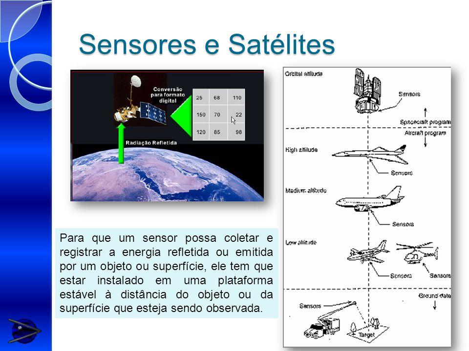 Sensores e Satélites Para que um sensor possa coletar e registrar a energia refletida ou emitida por um objeto ou superfície, ele tem que estar instalado em uma plataforma estável à distância do objeto ou da superfície que esteja sendo observada.