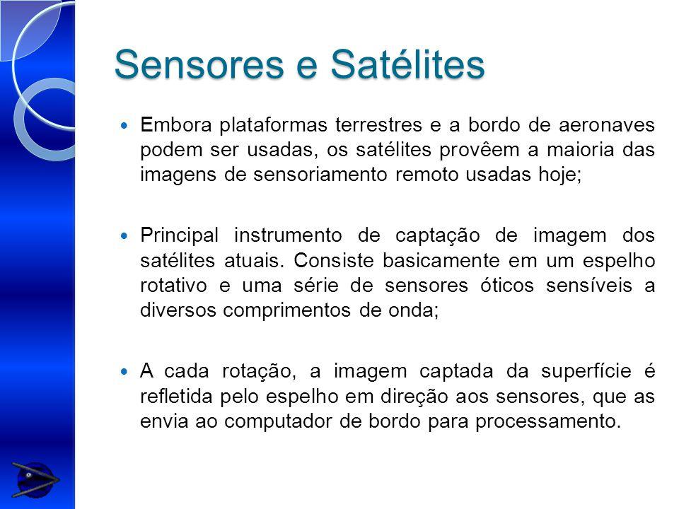 Sensores e Satélites Embora plataformas terrestres e a bordo de aeronaves podem ser usadas, os satélites provêem a maioria das imagens de sensoriamento remoto usadas hoje; Principal instrumento de captação de imagem dos satélites atuais.