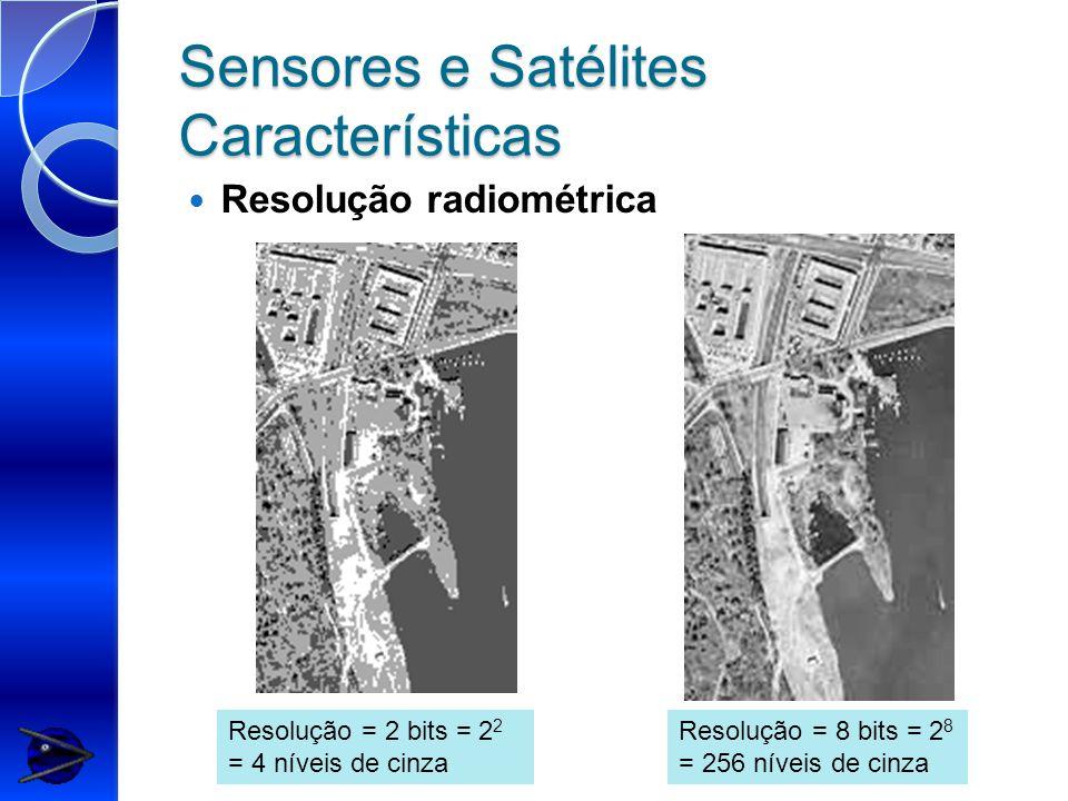 Sensores e Satélites Características Resolução radiométrica Resolução = 2 bits = 2 2 = 4 níveis de cinza Resolução = 8 bits = 2 8 = 256 níveis de cinza