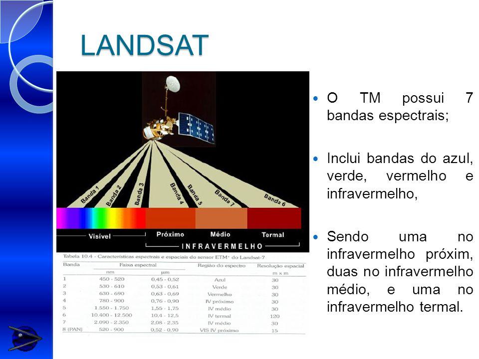 LANDSAT O TM possui 7 bandas espectrais; Inclui bandas do azul, verde, vermelho e infravermelho, Sendo uma no infravermelho próxim, duas no infravermelho médio, e uma no infravermelho termal.