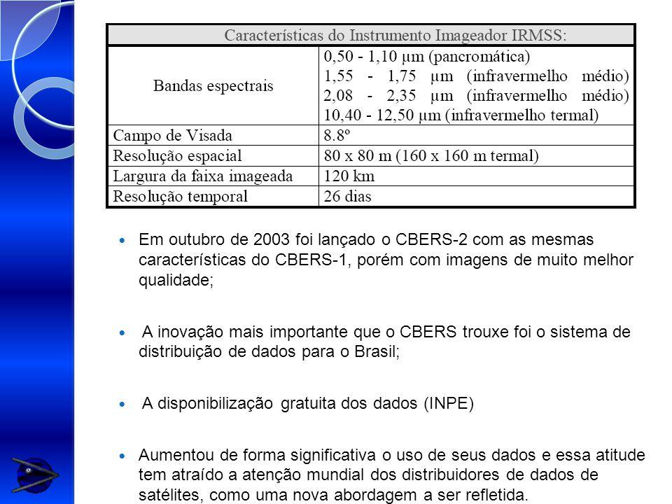 Em outubro de 2003 foi lançado o CBERS-2 com as mesmas características do CBERS-1, porém com imagens de muito melhor qualidade; A inovação mais importante que o CBERS trouxe foi o sistema de distribuição de dados para o Brasil; A disponibilização gratuita dos dados (INPE) Aumentou de forma significativa o uso de seus dados e essa atitude tem atraído a atenção mundial dos distribuidores de dados de satélites, como uma nova abordagem a ser refletida.