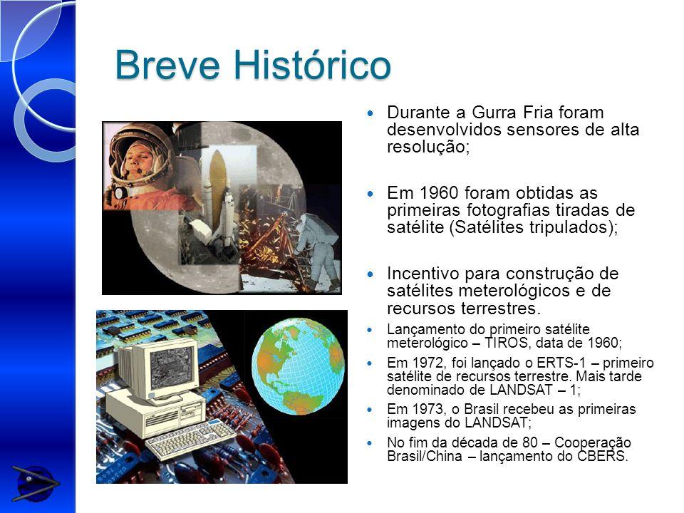 Breve Histórico Durante a Gurra Fria foram desenvolvidos sensores de alta resolução; Em 1960 foram obtidas as primeiras fotografias tiradas de satélite (Satélites tripulados); Incentivo para construção de satélites meterológicos e de recursos terrestres.