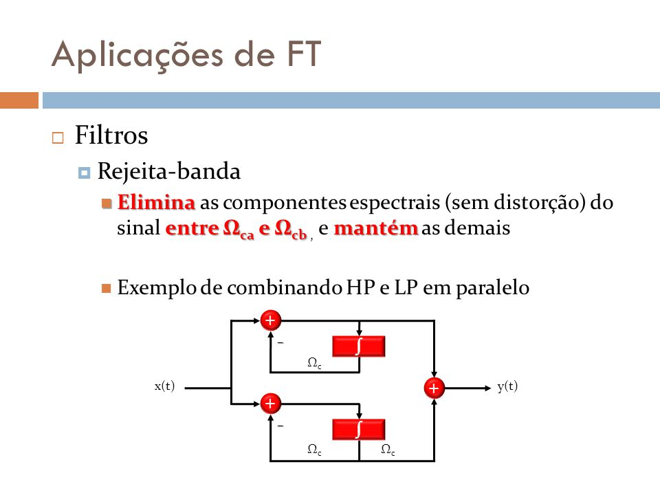 Aplicações de FT  Filtros  Rejeita-banda Elimina entre Ω ca e Ω cb mantém Elimina as componentes espectrais (sem distorção) do sinal entre Ω ca e Ω