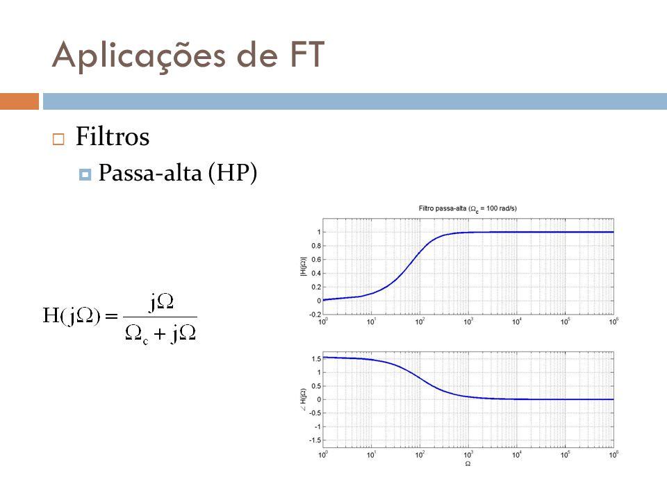 Aplicações de FT  Filtros  Passa-alta (HP)