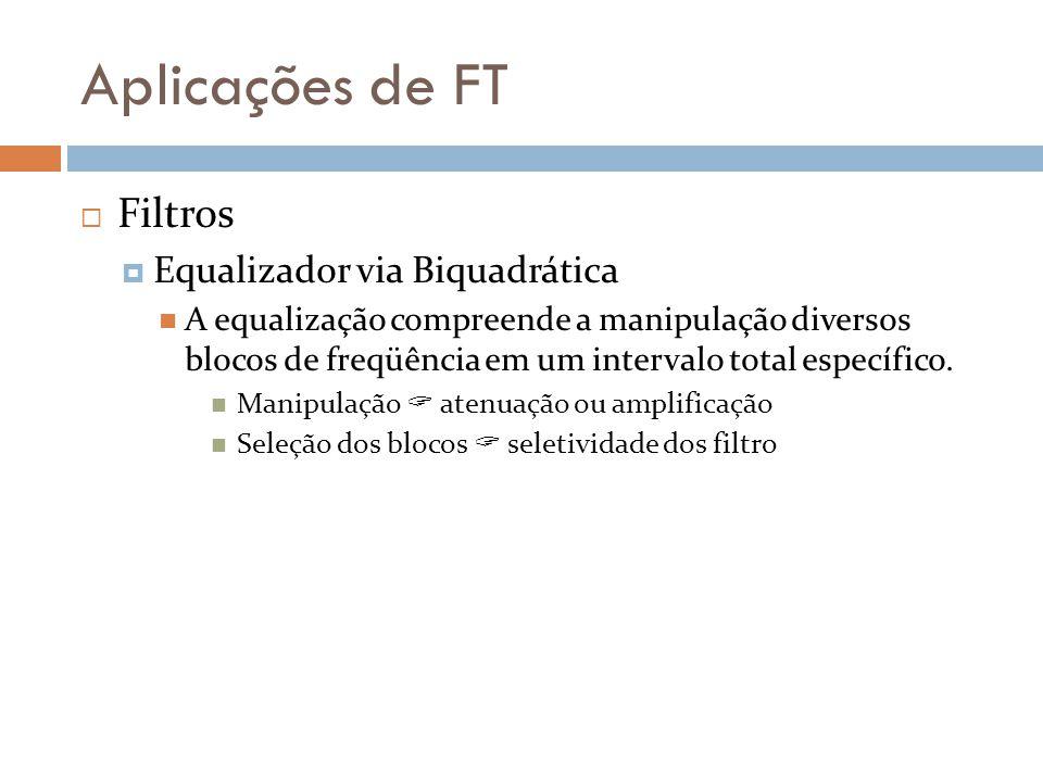 Aplicações de FT  Filtros  Equalizador via Biquadrática A equalização compreende a manipulação diversos blocos de freqüência em um intervalo total específico.