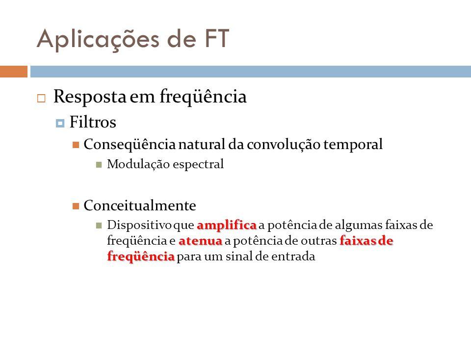 Aplicações de FT  Resposta em freqüência  Filtros Conseqüência natural da convolução temporal Modulação espectral Conceitualmente amplifica atenua faixas de freqüência Dispositivo que amplifica a potência de algumas faixas de freqüência e atenua a potência de outras faixas de freqüência para um sinal de entrada