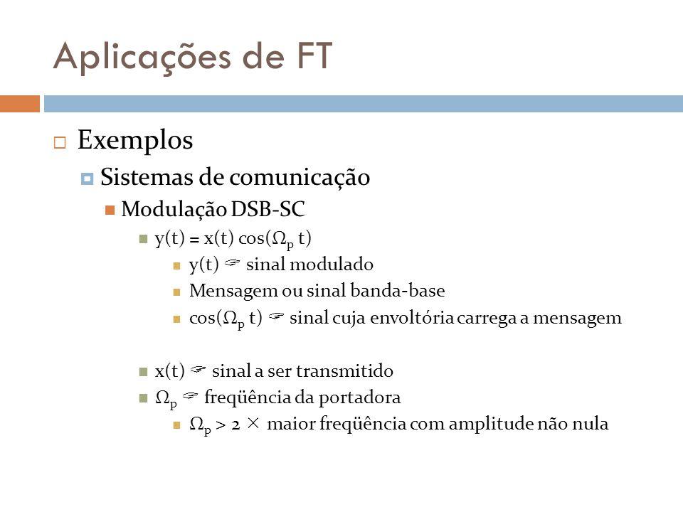 Aplicações de FT  Exemplos  Sistemas de comunicação Modulação DSB-SC y(t) = x(t) cos(Ω p t) y(t)  sinal modulado Mensagem ou sinal banda-base cos(Ω p t)  sinal cuja envoltória carrega a mensagem x(t)  sinal a ser transmitido Ω p  freqüência da portadora Ω p > 2  maior freqüência com amplitude não nula