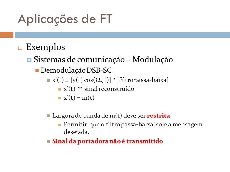 Aplicações de FT  Exemplos  Sistemas de comunicação – Modulação Demodulação DSB-SC x'(t) = [y(t) cos(Ω p t)] * [filtro passa-baixa] x'(t)  sinal reconstruído x'(t) = m(t) restrita Largura de banda de m(t) deve ser restrita Permitir que o filtro passa-baixa isole a mensagem desejada.