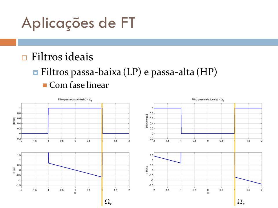 Aplicações de FT  Diagrama de Bode  Decibel (dB) P dB = +3 dB P sinal = 2 P referência  P dB = +3 dB P dB = -3 dB P sinal = 0,5 P referência  P dB = -3 dB P sinal = 10 P referência  P dB = +10 dB P sinal = 0,1 P referência  P dB = –10 dB P sinal = 100 P referência  P dB = +20 dB P sinal = 0,01 P referência  P dB = –20 dB