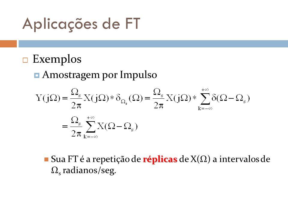 Aplicações de FT  Exemplos  Amostragem por Impulso réplicas Sua FT é a repetição de réplicas de X(Ω) a intervalos de Ω s radianos/seg.