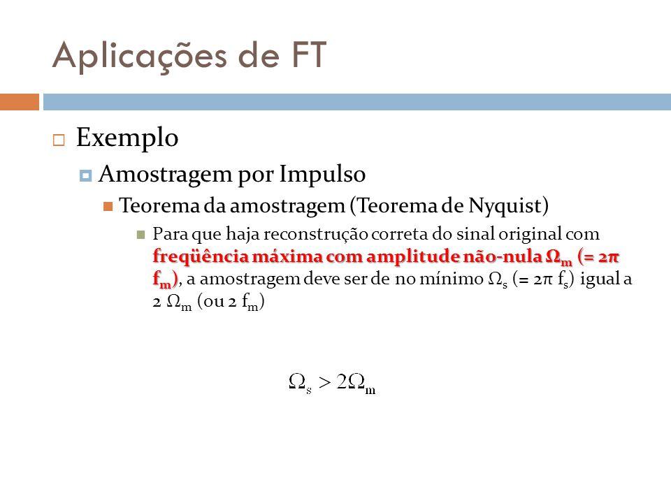 Aplicações de FT  Exemplo  Amostragem por Impulso Teorema da amostragem (Teorema de Nyquist) freqüência máxima com amplitude não-nula Ω m (= 2π f m ) Para que haja reconstrução correta do sinal original com freqüência máxima com amplitude não-nula Ω m (= 2π f m ), a amostragem deve ser de no mínimo Ω s (= 2π f s ) igual a 2 Ω m (ou 2 f m )