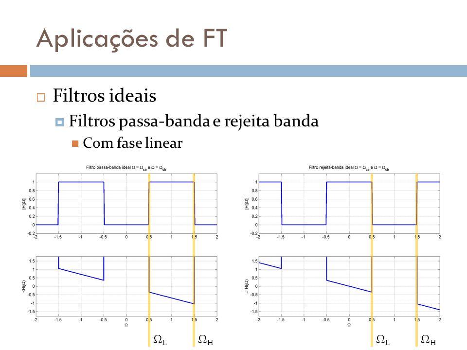 Aplicações de FT  Filtros ideais  O mais desejado  Fase zero Não causal Não causal  Segundo mais desejado  Fase linear Segundo mais desejado Não causal Pode ser aproximado por truncamento  Filtro ideal = filtro irrealizável