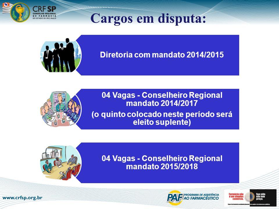 Diretoria com mandato 2014/2015 04 Vagas - Conselheiro Regional mandato 2014/2017 (o quinto colocado neste período será eleito suplente) 04 Vagas - Co